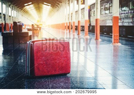 Bag and trip at train station transport  trip