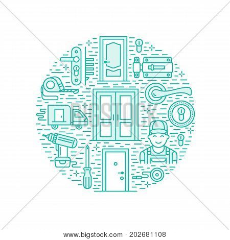 Doors installation, repair banner illustration. Vector line icons of various door types, handle, latch, lock, hinges. Circle template with thin linear signs for house decor shop, handyman service.