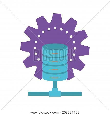 data base center colorful silhouette on white background vector illustration
