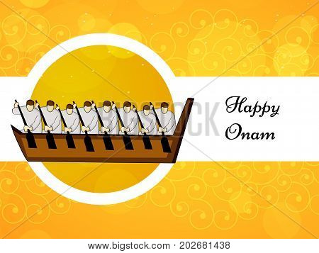 illustration of racing boat with happy onam text on the occasion of South Indian Festival Onam background
