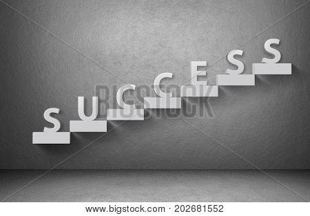 Word success on staircase on grey background, business concept