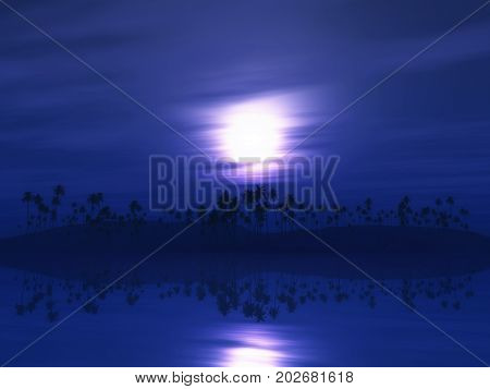 3D render of a palm tree island against a purple sunset sky