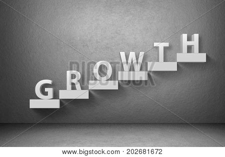 Word Growth on staircase on grey background, business concept