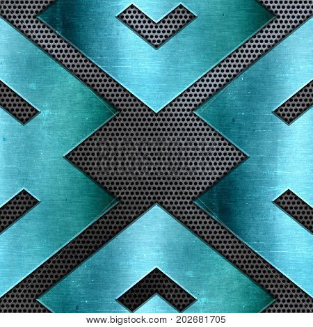 Abstract background with shiny teal metal on a perforated metallic texture