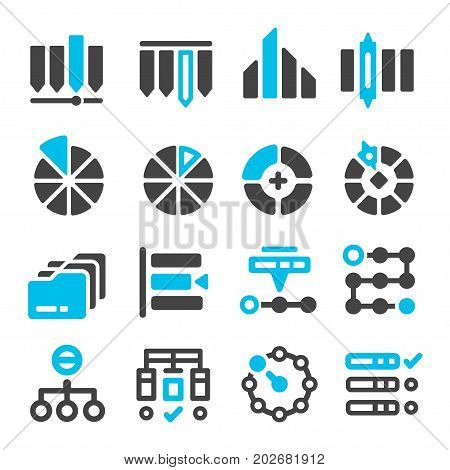 data category management icon set vector illustration