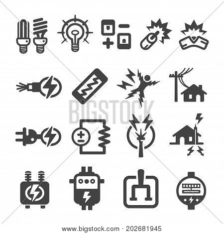 electric and electronic icon set vector illustration