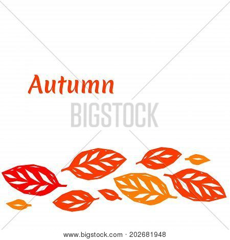 Red and orange autumn leaves composition, vector background