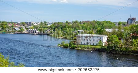 Narva river between Estonia and Russia during spring