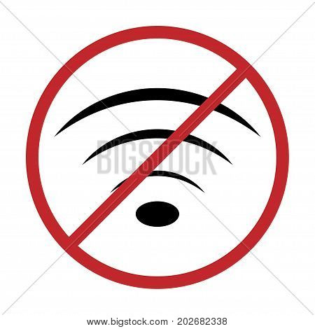 No Wifi icon vector illustration. Sign for Wifi forbidden areas. No Wifi symbol for information plates and stickers.