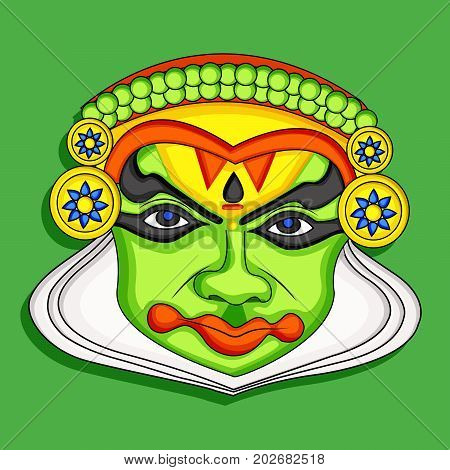 illustration of mask on the occasion of South Indian Festival Onam background