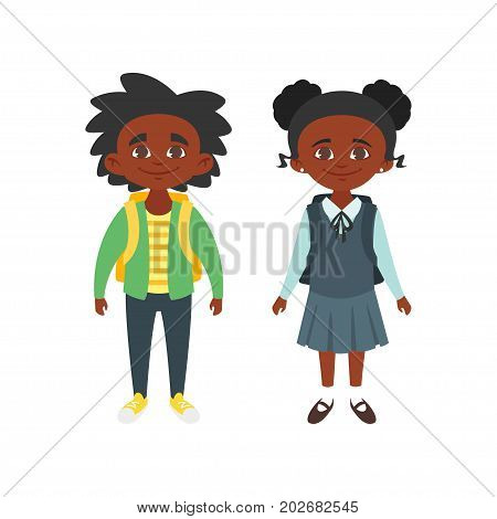 Vector cartoon style school characters: Afro American boy and girl in school uniform. Isolated on white background.