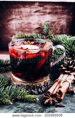 Mulled wine with cowberry cinnamon apple and anise. Christmas or New Year drink.