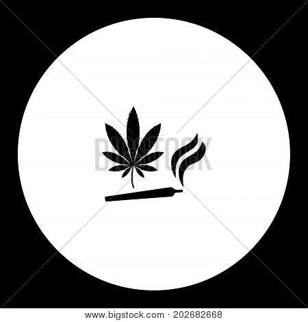 Weed And Joint Simple Silhouette Black Icon Eps10
