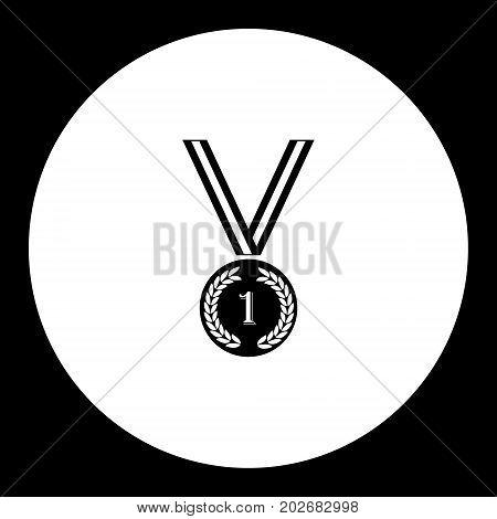 Medal For Winner Simple Silhouette Black Icon Eps10