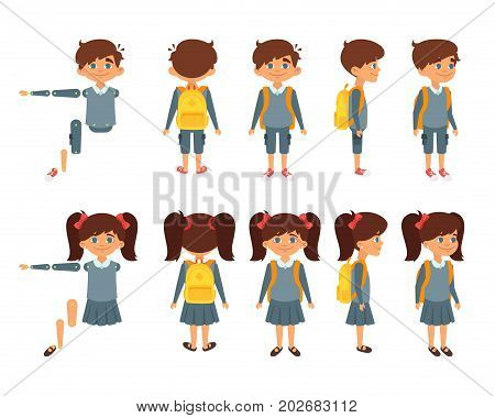 Vector cartoon style set of school boy and girl for animation. Isolated on white background.