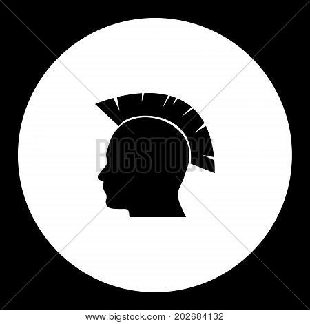 Punk Style Head Simple Silhouette Black Icon Eps10
