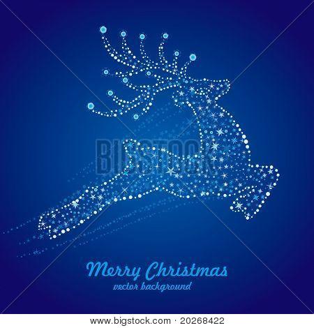 vector christmas deer,starry background