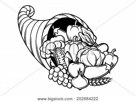 Harvest illustration .Autumn cornucopia with seasonal fruits and vegetables.