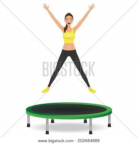 Young woman jumping on trampoline. Pretty fit girl in leggings and crop top with hands up