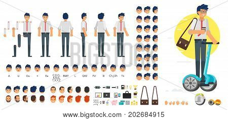 Vector flat style businessman character creation set for animation. Different emotions, hairstyles and gestures. Front, side and back view of character. Business icons. Isolated on white background.