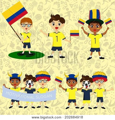 Set of boys with national flags of Colombia. Blanks for the day of the flag independence nation day and other public holidays. The guys in sports form with the attributes of the football team