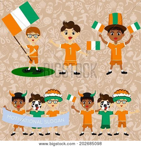 Set of boys with national flags of Cote d'Ivoire. Blanks for the day of the flag independence nation day and other public holidays. The guys in sports form with the attributes of the football team