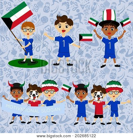Set of boys with national flags of Kuwait. Blanks for the day of the flag independence nation day and other public holidays. The guys in sports form with the attributes of the football team