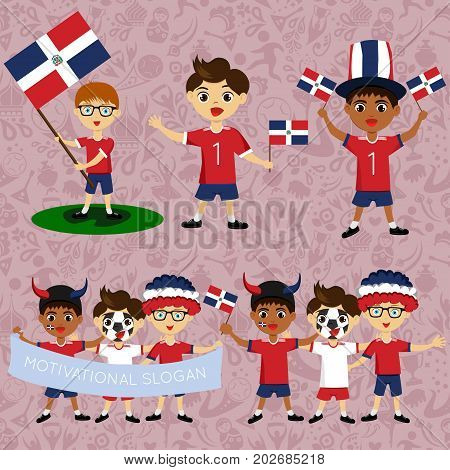 Set of boys with national flags of Dominican Republic. Blanks for the day of the flag nation day and other public holidays. The guys in sports form with the attributes of the football team