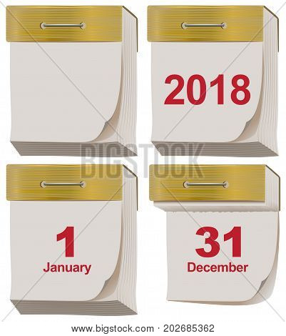 Set tear off calendar 2018. Isolated on white vector illustration