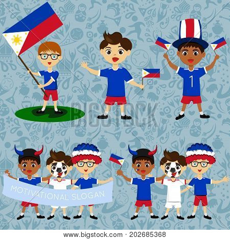 Set of boys with national flags of Philippines. Blanks for the day of the flag independence nation day and other public holidays. The guys in sports form with the attributes of the football team