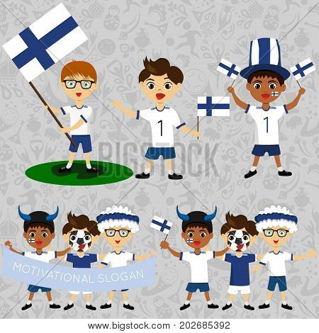 Set of boys with national flags of Finland. Blanks for the day of the flag independence nation day and other public holidays. The guys in sports form with the attributes of the football team
