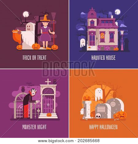 Halloween backgrounds with old ghost house, trick or treat children in costumes of ghost and witch, scary vampire and haunted cemetery. Halloween night cards or concept banners templates vector set.