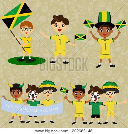 Set of boys with national flags of Jamaica. Blanks for the day of the flag independence nation day and other public holidays. The guys in sports form with the attributes of the football team