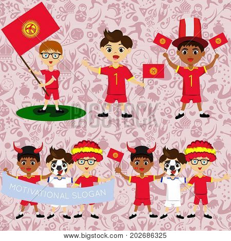 Set of boys with national flags of Kyrgyzstan. Blanks for the day of the flag independence nation day and other public holidays. The guys in sports form with the attributes of the football team