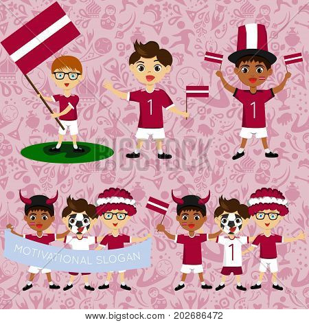 Set of boys with national flags of Latvia. Blanks for the day of the flag independence nation day and other public holidays. The guys in sports form with the attributes of the football team
