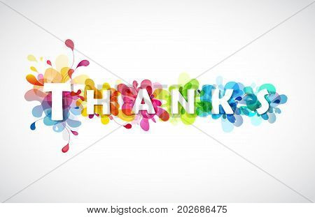 Thanks quotation with colorful abstract backgrounds behind each letters.
