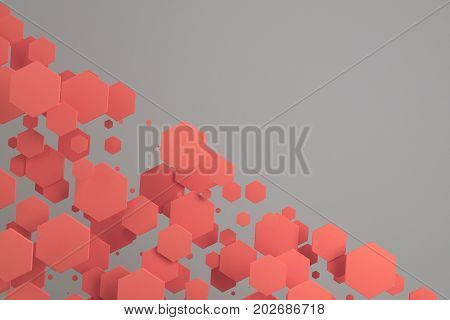 Red Hexagons Of Random Size On White Background