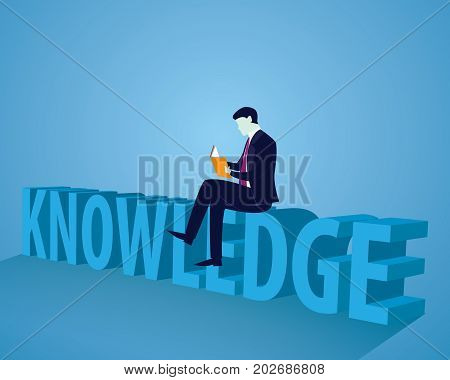 Businessman And Books. Knowledge Business Education Concept