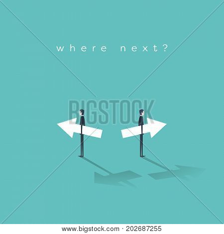 Business decision, choice, strategy, direction vector concept. Two businessman holding arrows in opposite directions. Eps10 vector illustration.