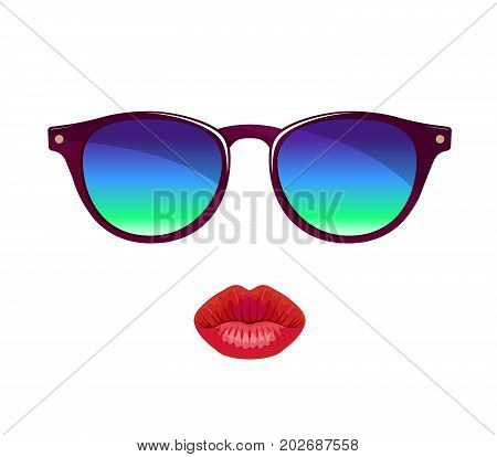 women's lips and sunglasses. isolated colored objects on white background