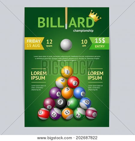 Billiard Tournament Poster Card Template Cue in a Pool Table. Vector illustration of Billiard Competition Flyer or Placard