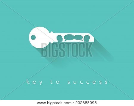 Key to success business vector concept with key silhouette and two people having business conversation. Eps10 vector illustration.