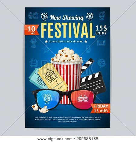 Cinema Movie Festival Poster Card Template Include of Popcorn, Ticket and Clapper. Vector illustration of Premiere Film Invitation
