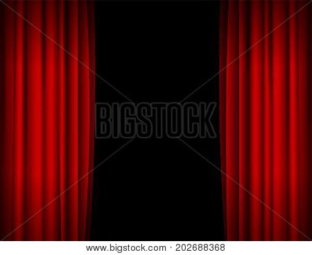Realistic Red Opened Stage Curtains on a Black Background Element Of Interior Decoration Place for Your Text. Vector illustration of Curtain