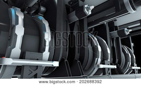 Abstract industry, technology and engineering high tech background. 3D rendering.