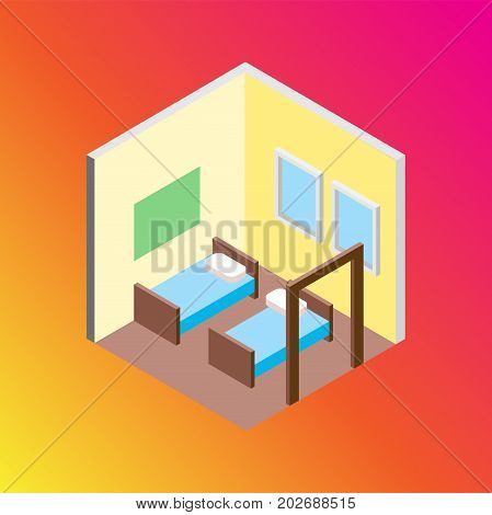 Vector design concept with isometric 3d hostel or hotel bed room illustration