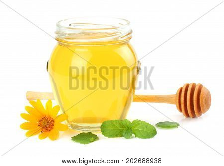 Honey With Honey Dipper Isolated On White Background