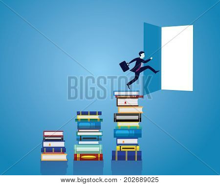 Vector illustration. Knowledge business education concept. Businessman and books. Reading book for self skill career development