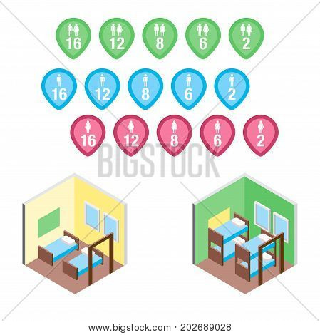Vector design concept with isometric 3d hostel or hotel bed rooms and badges illustration
