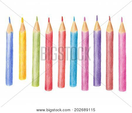 Hand drawn illustration of colored pencil, crayon set isolated on white background. Set of crayons hand drawn with colored pencils, colorful illustration